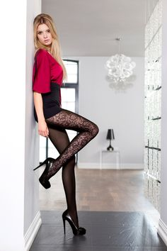 EMIRA 06 #tights #patterned #fashion #legs #legwear #flowers #black #sexy