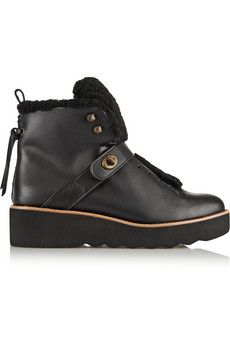 Coach Urban Hiker shearling-trimmed leather boots | NET-A-PORTER