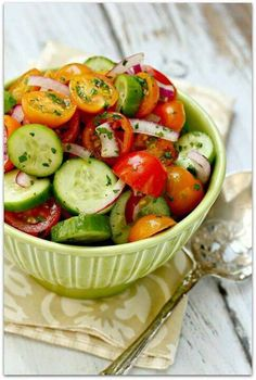 Tomato-Cucumber Salad. This light and fresh salad will surely brighten up your moody morning! All you need is some fresh cucumbers, organic tomatoes, onion and dill. Drizzle with a little amount of olive oil, add a twist of lemon juice and you're good to go. Bon appetit!