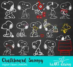 Snoopy Clipart de pizarra / Digital Clip Art para comerciales y Personal de usan / descarga instantánea