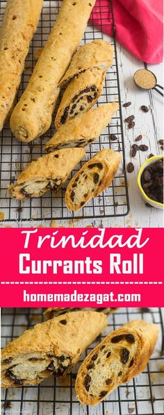 Four Kitchen Decorating Suggestions Which Can Be Cheap And Simple To Carry Out A Flaky Pastry Crust, Filled With An Abundance Of Currants. A Popular Snack In Trinidad And Tobago. This Can Also Be Filled With Cheese Or Coconut Filling Carribean Food, Caribbean Recipes, Currants Roll Recipe, Baking Recipes, Dessert Recipes, Desserts, Bread Recipes, Baking Breads, Breakfast Recipes