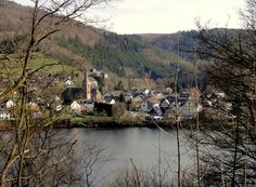 The charming small town of Einruhr in the Eifel region of Germany.