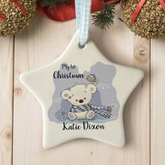 Personalised My First Christmas Teddy Star Ceramic Decoration