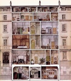 Cutaway of a Georgian house from Janeausten.wordpress.