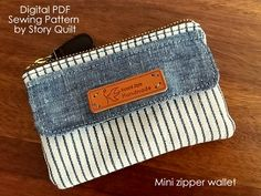 Quick and easy to make mini zipper wallet sewing pattern | minimalist wallet, gift cards wallet, credit card wallet, travel wallet tutorial  purse sewing pattern