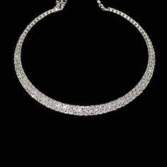 Fleur De Lis Choker / Swarovski Kristal - 2rij - Gala Of Feest - Edelmetaal Plating - Zilver Of Goud - € 24,95