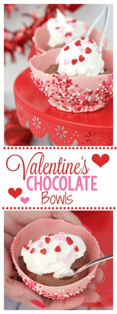 Valentine's Chocolate Bowls: How to Make a Chocolate Bowl using a balloon. This is a fun way to spice up your Valentine's Day dessert. These chocolate bowls are yummy fun and festive! Valentine Desserts, Valentine Chocolate, Valentine Treats, Fun Desserts, Dessert Recipes, Chocolate Bowls With Balloons, Fun Valentines Day Ideas, Kids Valentines, Desserts Valentinstag