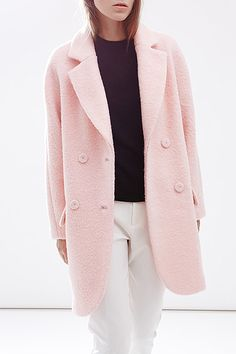 C+impress Light Pink Wool Blend Double Breasted Cocoon Coat | Coats at DEZZAL