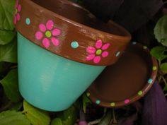 Painted Flower Pots - Set of Five - Herb Planters - Succulent Planters Painted Flower Pots - Set of Small Flower Pots, Clay Flower Pots, Flower Pot Crafts, Clay Pot Crafts, Clay Pots, Sea Crafts, Kids Crafts, Painted Plant Pots, Painted Flower Pots