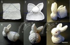 make a bunny from a knit square