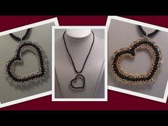 Beaded Heart Pendant Beading Tutorial by Honeybeads1 (Photo tutorial with twin beads) - YouTube