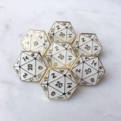 Geometric d20 Lapel Pin in Rose Gold and White enamel.