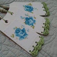 Set of 3 Vintage Rose Handmade Gift Tags