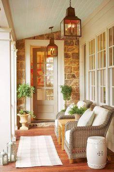 New Exterior House Small Porches Ideas Design Exterior, Exterior Paint Colors, Stone Exterior, Wall Exterior, Exterior Siding, Paint Colours, Outdoor Spaces, Outdoor Living, Small Porches