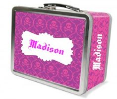 Skull Damask Personalized Lunch Box