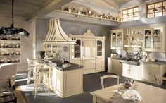 Inspiring Kitchen Style: Italian Country Kitchens : Delightful Traditional Italian Country Style Kitchen White Painted Wood Furniture Dining Table And Chair Feats Island Marble Countertop Also Cabinetary Decors Country Chic Kitchen, Rustic Country Kitchens, Country Kitchen Designs, Shabby Chic Kitchen, Modern Kitchen Design, Vintage Kitchen, Country Style, French Country, Modern Country