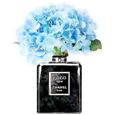 ART PRINT Black Coco Noir Perfume Bottle Vase Blue Hydrangeas No 5,... ($15) ❤ liked on Polyvore featuring home, home decor, wall art, watercolor wall art, rose paintings, water color painting, black paintings and blue wall art