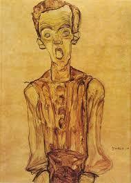 Autoritratto, 1910, acquerelli, Egon Schiele. Collezione privata.