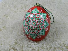 Red & Green Rozha Christmas Pysanky by eliseanneggdesigns on Etsy https://www.etsy.com/listing/214438039/red-green-rozha-christmas-pysanky