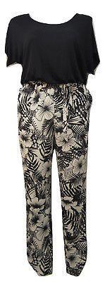 5dab2706f40b Women s Jumpsuit Black Floral Scoop Neck Tapered-Leg Dolman-Sleeve Size M