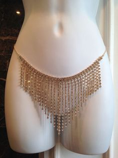 New and Glamorous! Gold Rhinestone lingerie crystal chain skirt belt fringe burlesque showgirl Gold #BedroomtoBurlesque #goldlingerie #crystallingerie #rhinestonelingerie