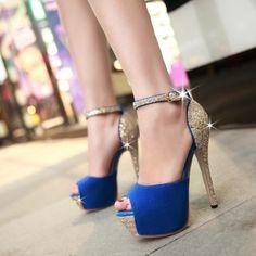 Blue Peep Toe Ankle Strap High Heels Fashion Sandals on Luulla Very High Heels, Ankle Strap High Heels, High Heels Stilettos, Peep Toe Heels, Stiletto Heels, Pumps, Cheap Shoes Online, Fashion Sandals, Shoe Boots