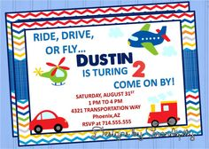 trains planes and automobiles party theme | ... Invitation, Customized, Cars, Planes, Trains, Matching decor available