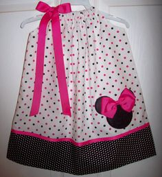 Minnie Mouse Pillowcase Dress Hot Pink Black Dots by molliepops,