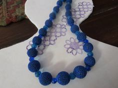 Crocheted Blue Crystal and Glass Necklace by uniquestitchesdetroit