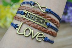 Bronze infinity & hope LOVE charm bracelet navy by BraceletTribal, $4.50 Cute Personalized Jewelry