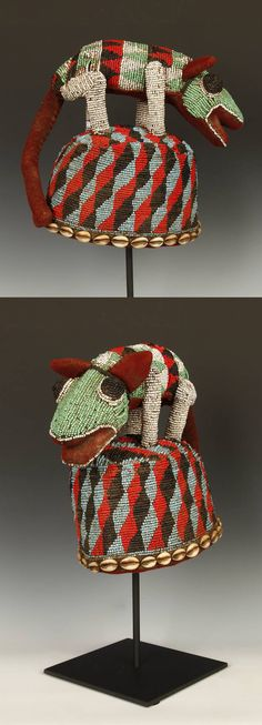 Africa | Headdress / hat from the Bamileke people of Cameroon | Glass beads sewn over cotton and wood | 20th century
