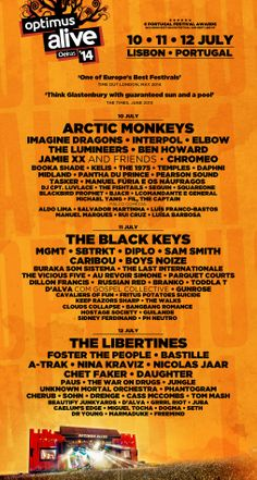 Optimus Alive 2014 line up!!! Perfect to stay at Ljmonade hostel during it!!!
