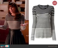 Rachel's black and white striped top on Glee.  Outfit Details: http://wornontv.net/43958/ #Glee