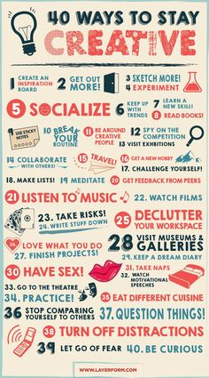 40 ways to stay creative - infographic on how to overcome creative block
