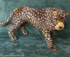 Как сшить большую мягкую игрушку леопарда с проволочным каркасом. Выкройка леопарда / Мастер-класс
