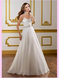 White A Line Beading Sweetheart Tulle Wedding Dress
