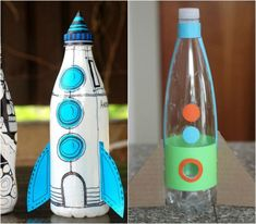 Make your own money box - 13 great DIY ideas for children and adults Homemade rocket money box from a PET bottle Craft Activities For Kids, Crafts To Do, Preschool Crafts, Diy Crafts For Kids, Art For Kids, Pet Bottle, Bottle Box, Space Party, Money Box