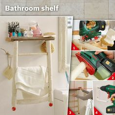 shabby chic bathroom rack with step by step instructions. Black Bedroom Furniture Sets. Home Design Ideas