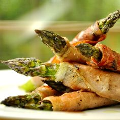 Grilled Prosciutto-Wrapped Asparagus (Lighten up with Laughing Cow Cream Cheese and reduced fat crescents)