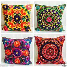 Indian Suzani Ethnic Vintage Cushion Cover Covers Embroidery Mirror Mandala 16