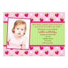 Strawberry Berry Photo Birthday Party Invitations