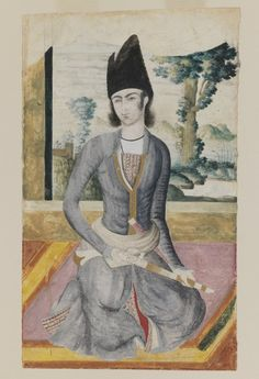 Seated Qajar Prince, late 18th-19th century. Pencil and opaque watercolor on paper, 11 1/2 x 7 in. (29.2 x 17.8 cm). Brooklyn Museum, Gift of Mr. and Mrs. Charles K. Wilkinson, 72.26.6 (Photo: Brooklyn Museum, 72.26.6_IMLS_PS3.jpg)
