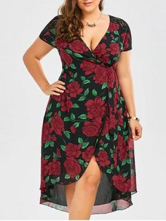 GET $50 NOW | Join RoseGal: Get YOUR $50 NOW!http://m.rosegal.com/plus-size-dresses/lace-panel-floral-print-asymmetrical-1155054.html?seid=9199749rg1155054
