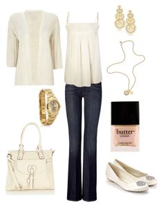 """""""Ivory & Gold Casual"""" by shellkennedy ❤ liked on Polyvore featuring 7 For All Mankind, Oasis, Biba, LK Designs, Zadig & Voltaire, Monsoon, Mulberry, Butter London, Wallis and women's clothing"""