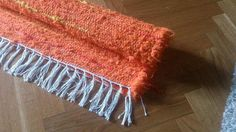 Rag Rug Handmade Orange Rug with Red and Yellow Stripes