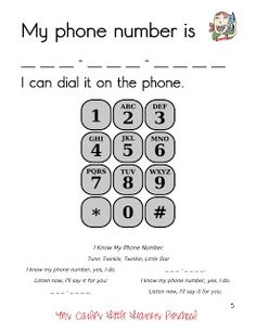 Carlie's Little Learners Preschool: {all about me} and {QOTW}/Great to work on learning phone number & learning numbers in general. Would also be great for special Ed. Preschool Learning, In Kindergarten, Fun Learning, Preschool Activities, All About Me Preschool Theme, Preschool Homework, Preschool Colors, Numbers Preschool, Kids Education