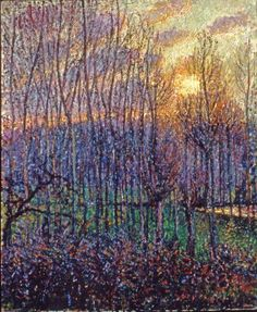 Poplars, Sunset at Eragny (1894) - Camille Pissaro. Again I wish I could see this in person. The flecks of paint depicting the way light affects the colours, tones and shapes allows the image to become visible. I am unable to see whether the glimmers of white in the trees and undergrowth are additions of paint or canvas showing through, either way it makes the painting glisten in the sunset.