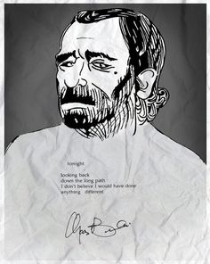 Charles Bukowski  >pen drawning, color digital