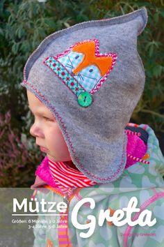 """Kindermütze """"Greta"""" im Inka-Stil Nähanleitung und Schnittmuster für eine tolle Mütze im Inka-Stil. Die Mütze reicht seitlich schön lang über die Ohren, so dass diese im Winter vor Wind und Wetter gut geschützt sind. Die leichte..."""