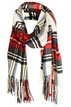 Check print pattern scarf in white to pop in the winter drab!